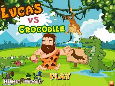 原始人與鱷魚
