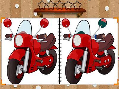 卡通摩托車找不同